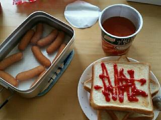 キャンプの朝飯を家で