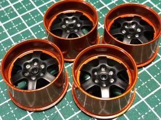 6本スポーク 大径ホイール つや消し4 ブラック×メタリックオレンジ